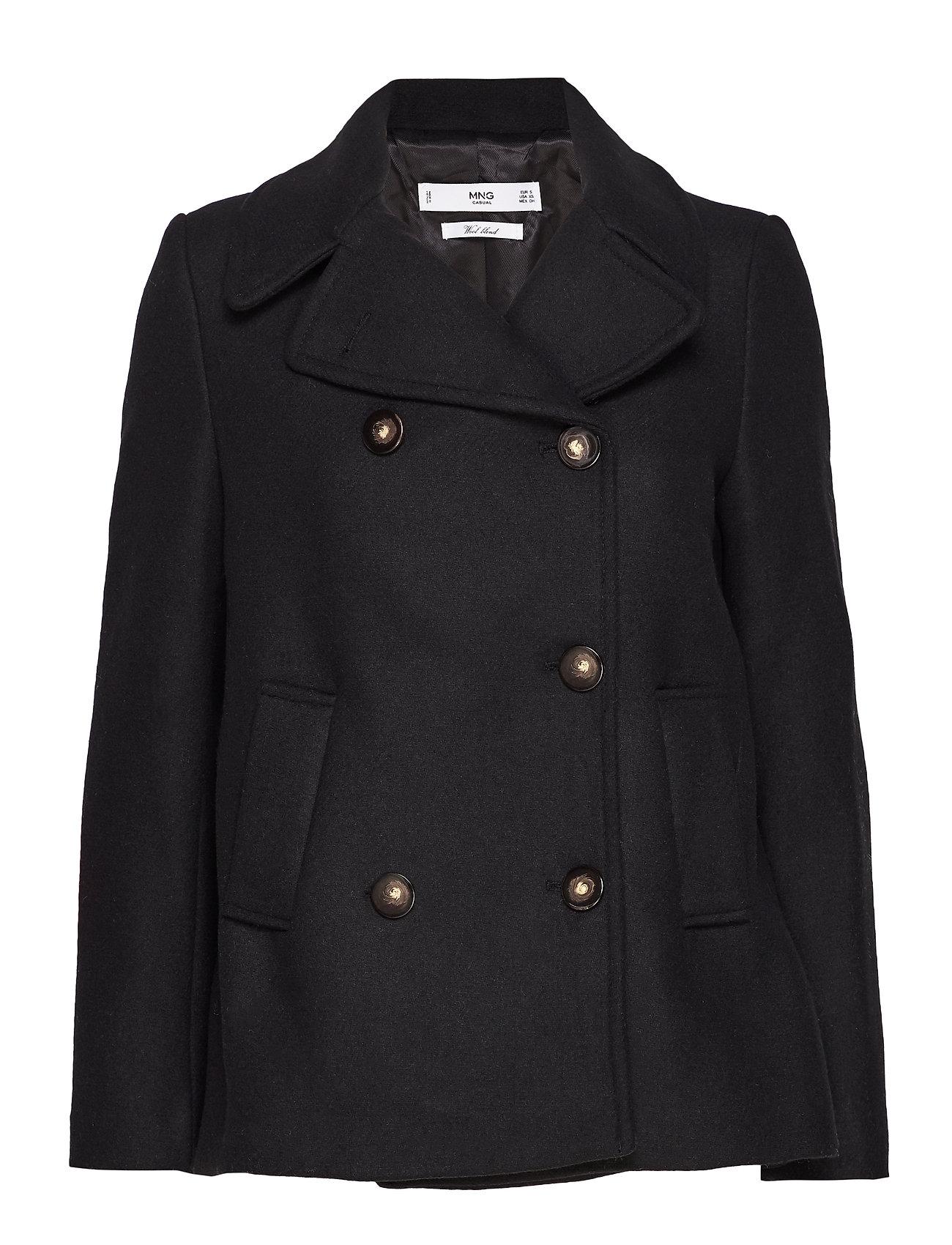 Mango Double-breasted wool coat - BLACK