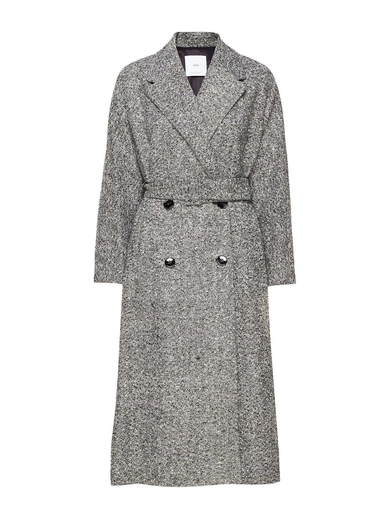 Mango Textured long coat - GREY