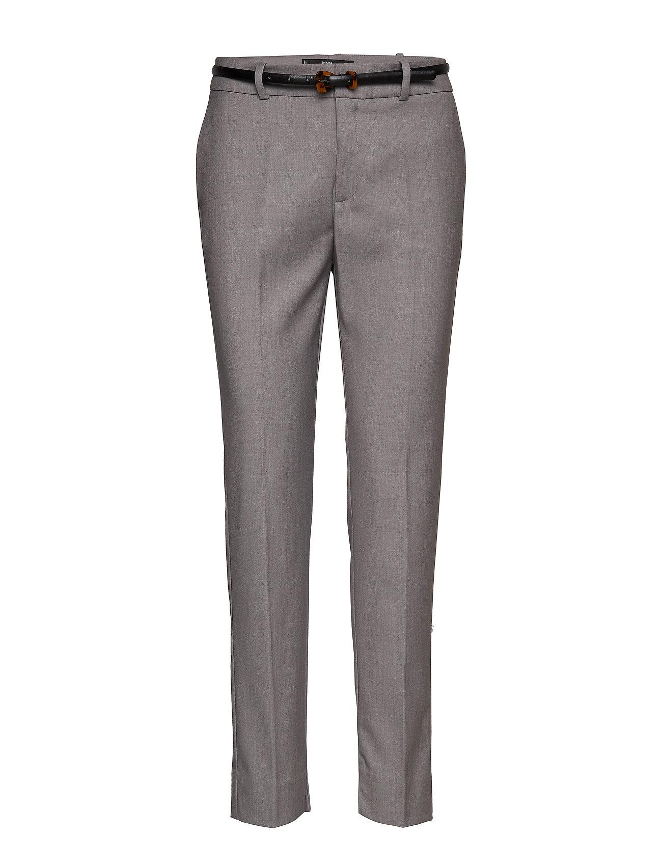 Mango Belt straight-fit trousers - GREY