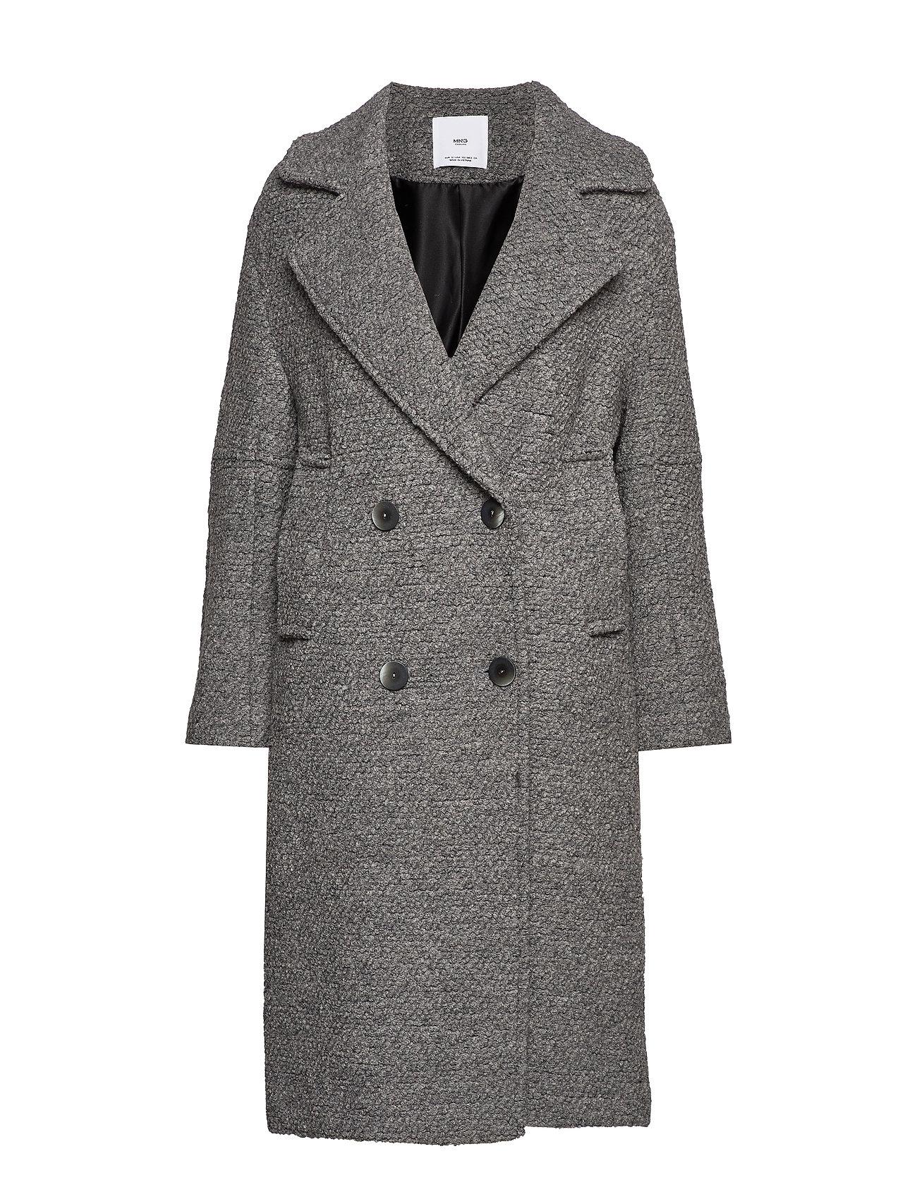 Mango Fur boucl wool coat - GREY