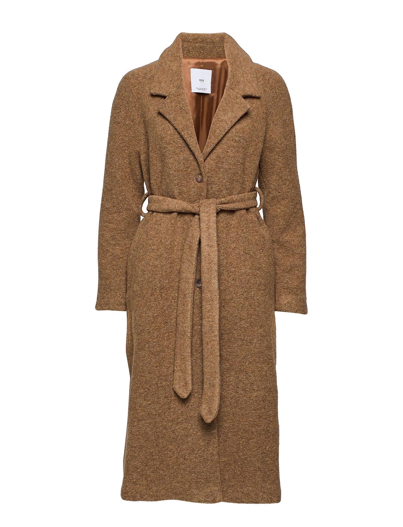 Mango Belted wool coat - DARK BROWN