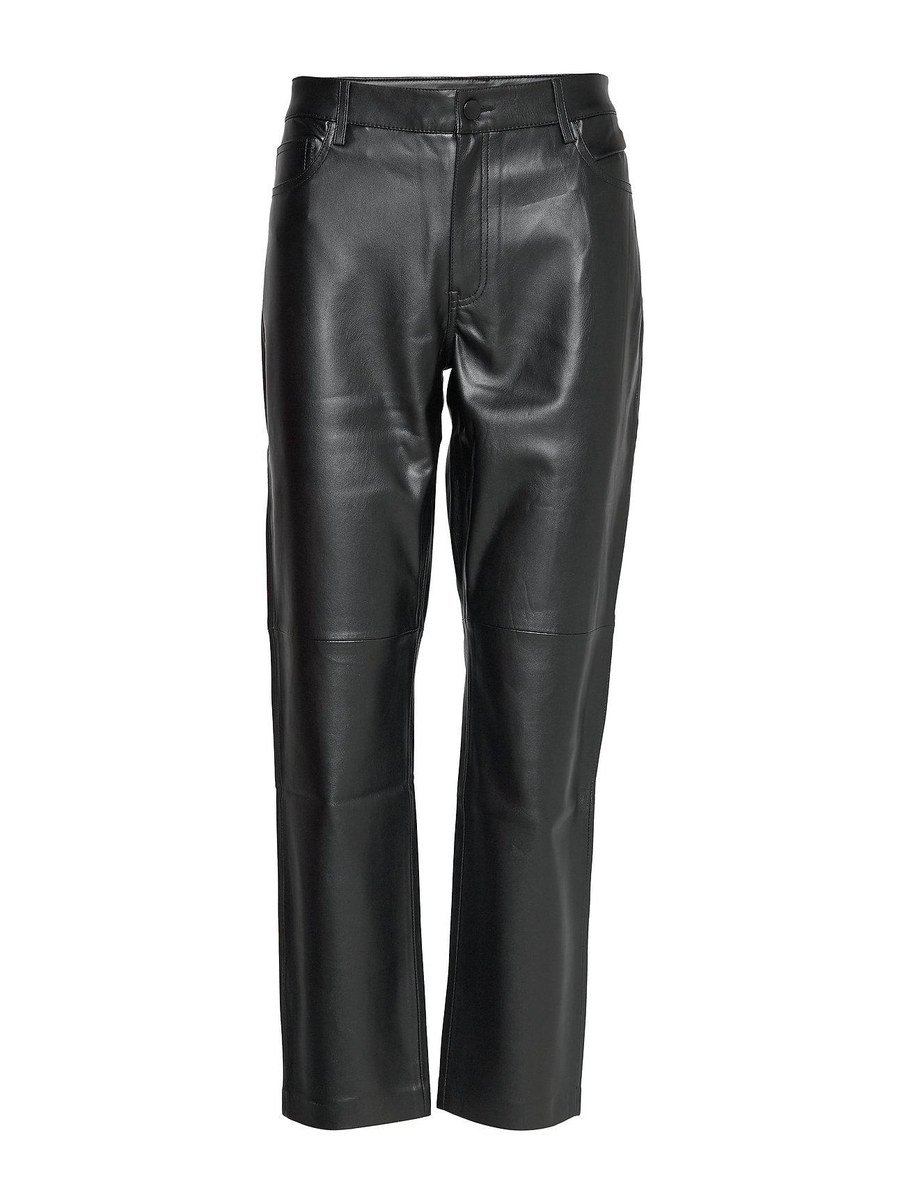 Mango Leather effect straighth trouser - BLACK