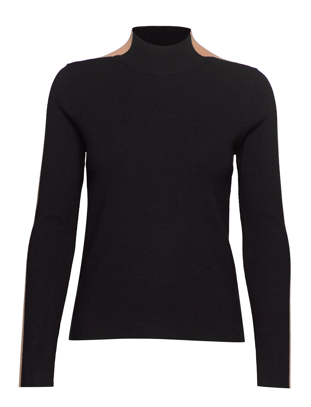 Mango Contrast knit sweater - BLACK