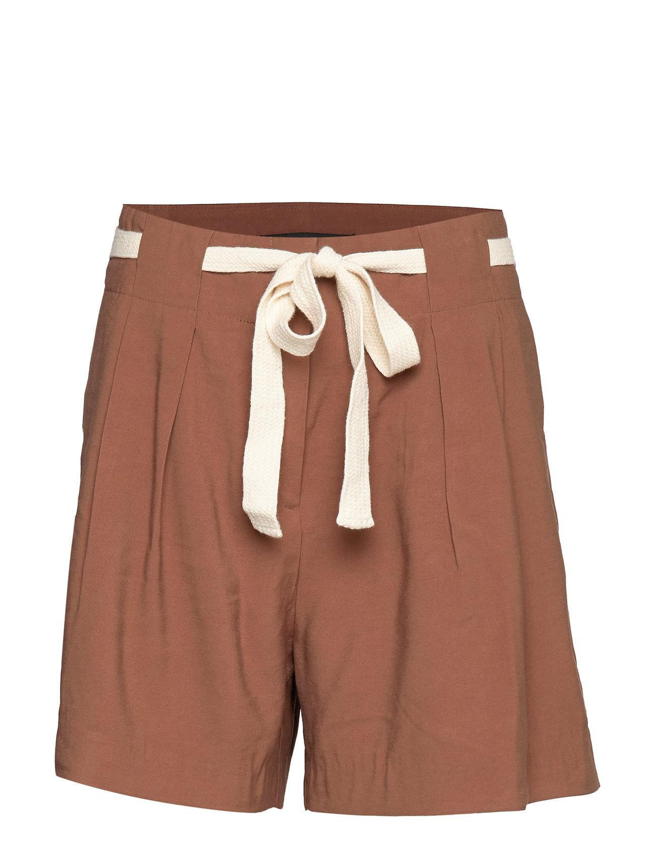 Mango High-waist shorts - DARK BROWN