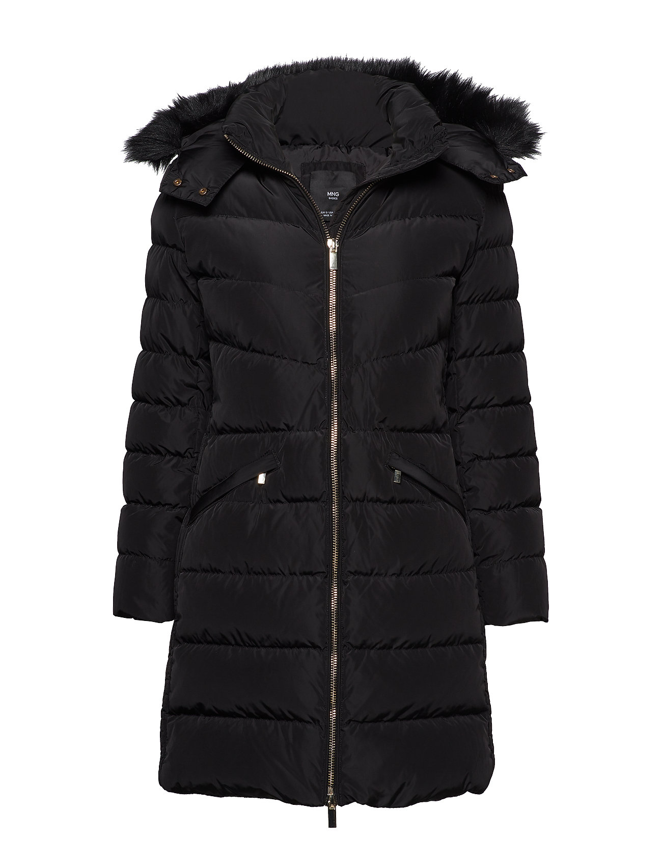 Mango Quilted feather coat - BLACK