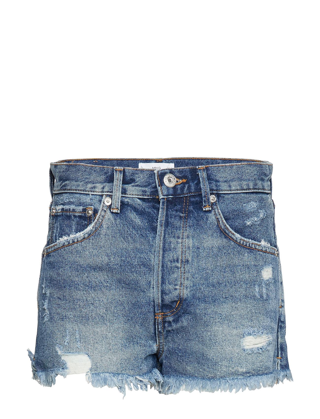 Mango Frayed hem denim shorts - OPEN BLUE