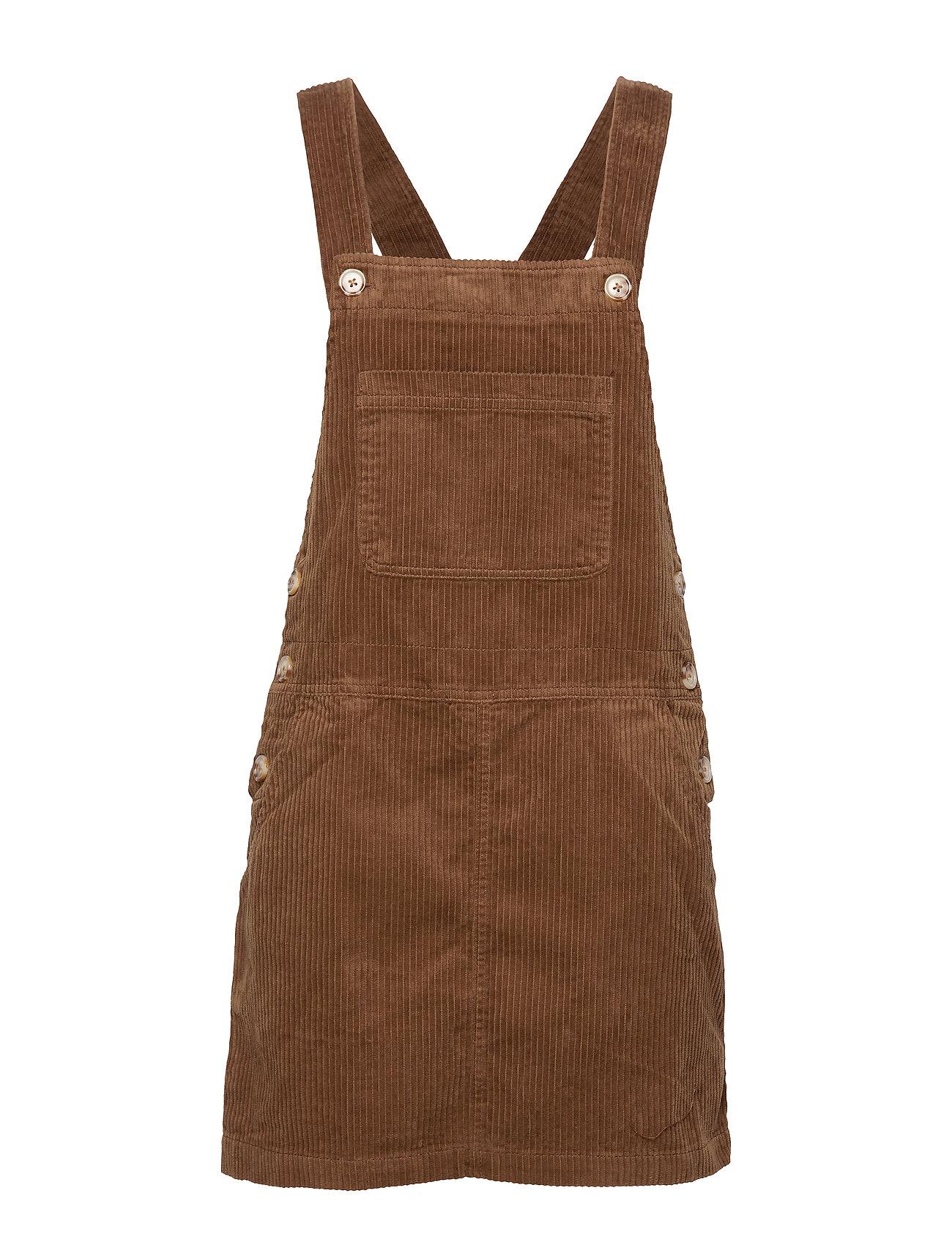 Mango Corduroy pinafore dress - DARK BROWN