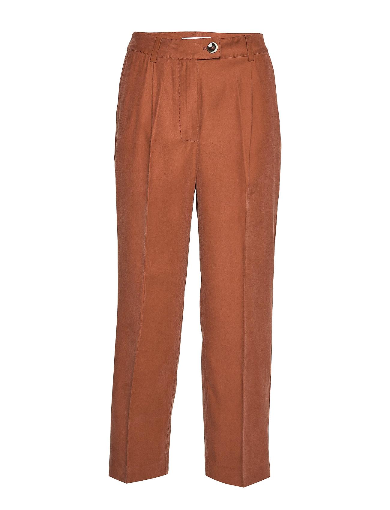 Mango Straight long pants - DARK BROWN