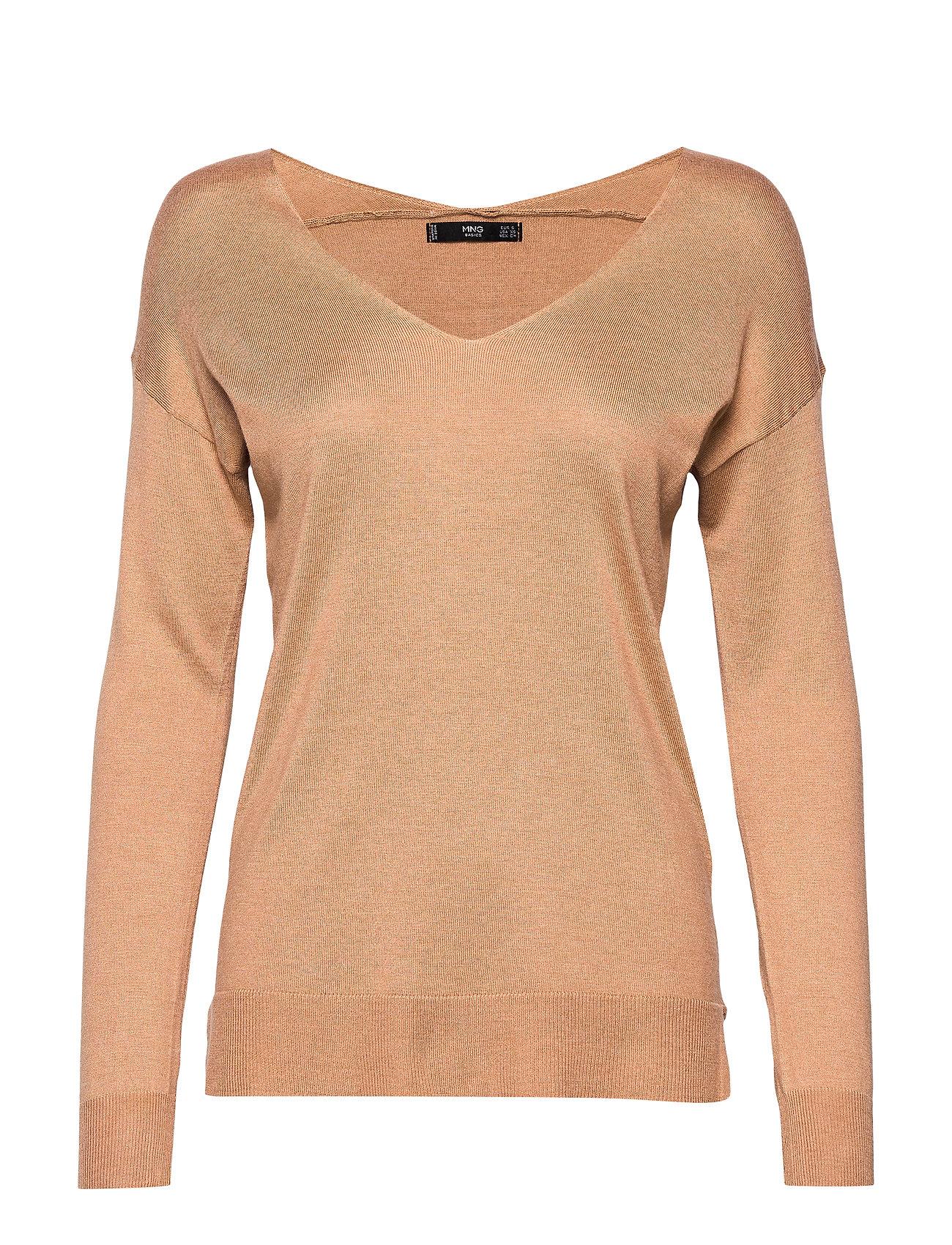 Mango V-neckline sweater - DARK BROWN