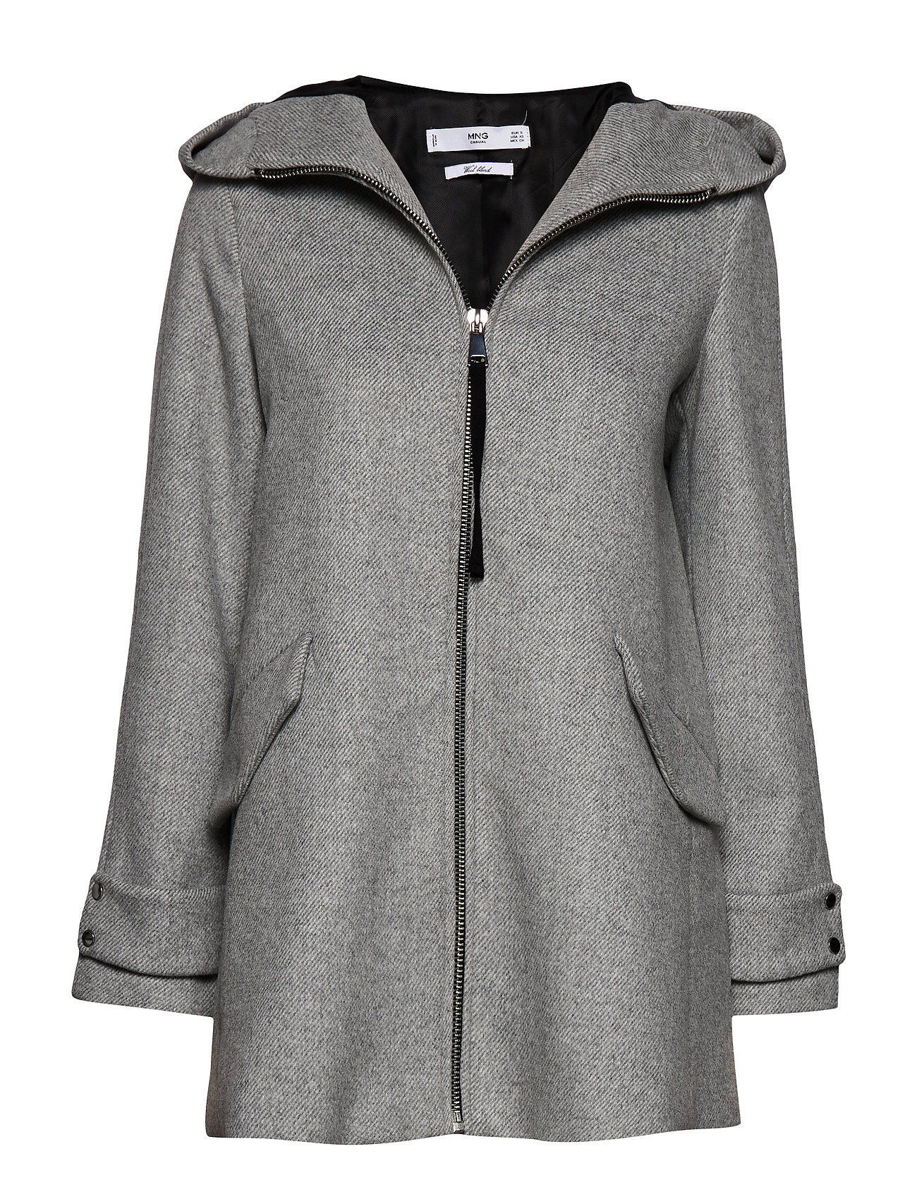 Mango Hooded wool coat - MEDIUM GREY