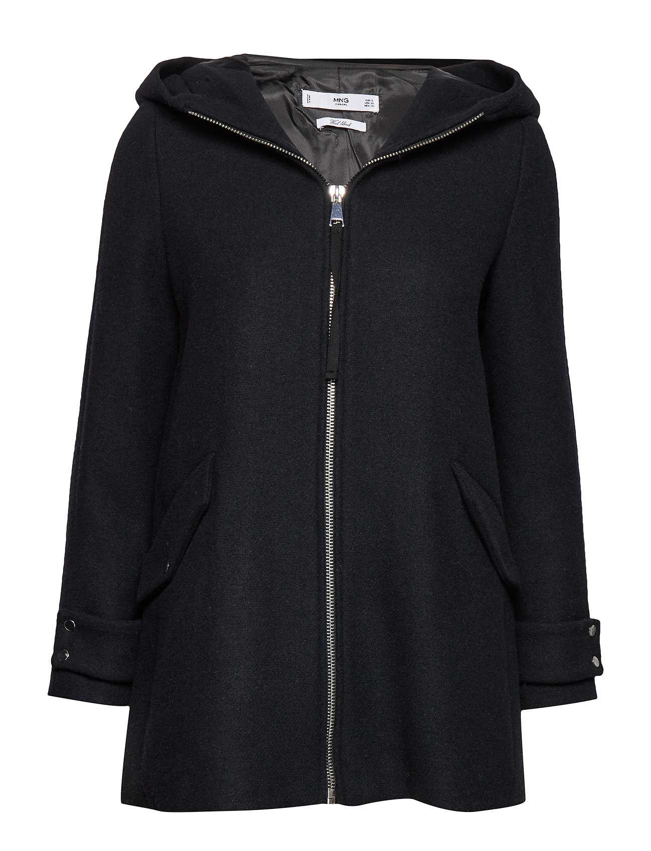 Mango Hooded wool coat - NAVY