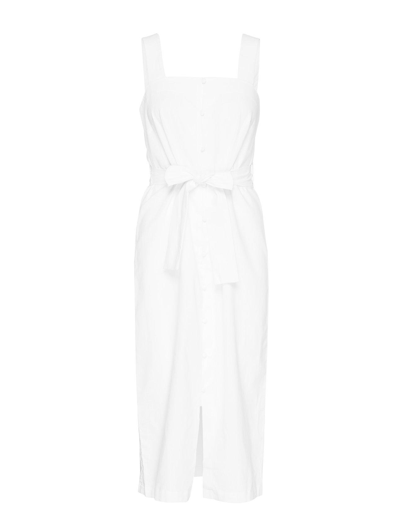 Mango Linen strap dress - WHITE