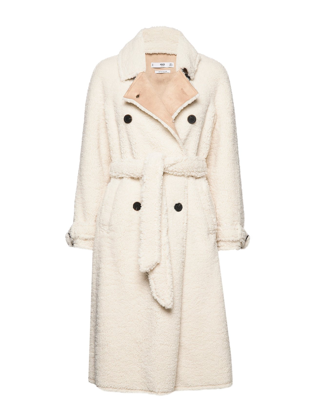 Mango Faux shearling long coat - LIGHT BEIGE