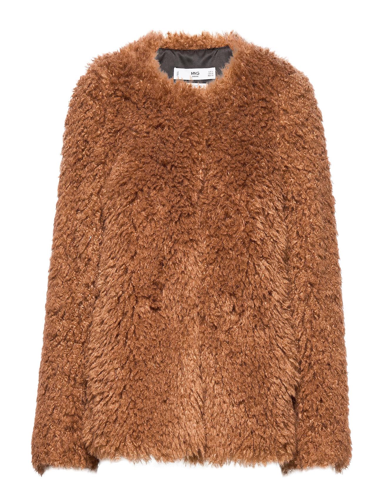 Mango Sheepskin jacket - BROWN