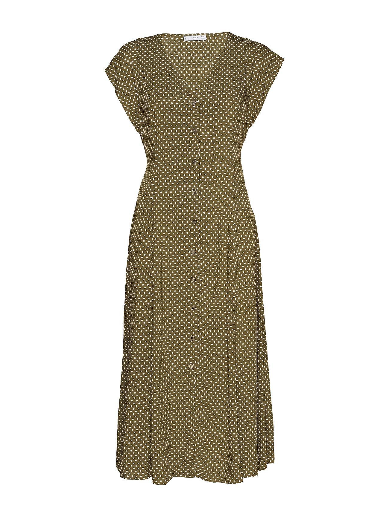 Mango Midi printed dress - BEIGE - KHAKI
