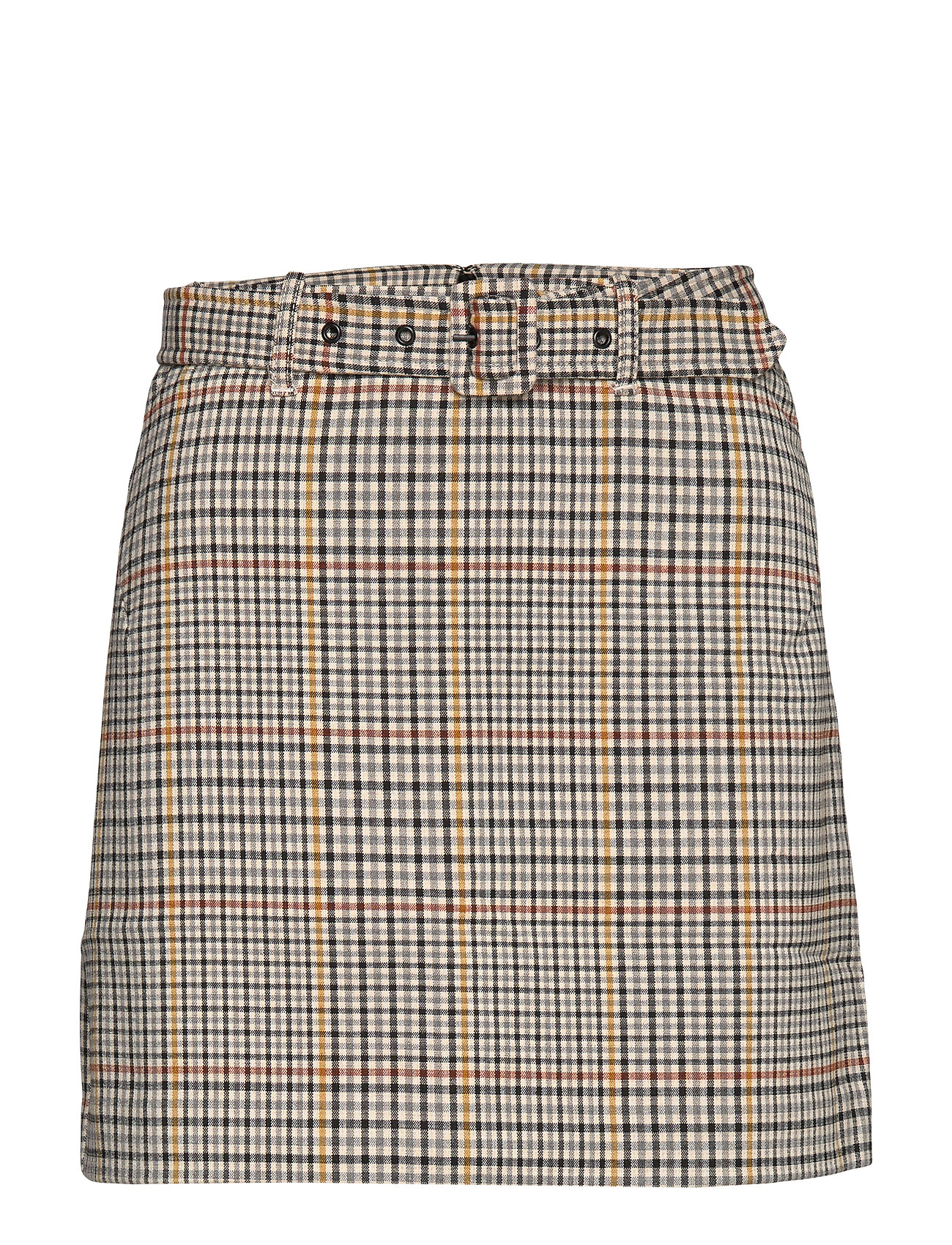 Mango Check miniskirt - LIGHT BEIGE
