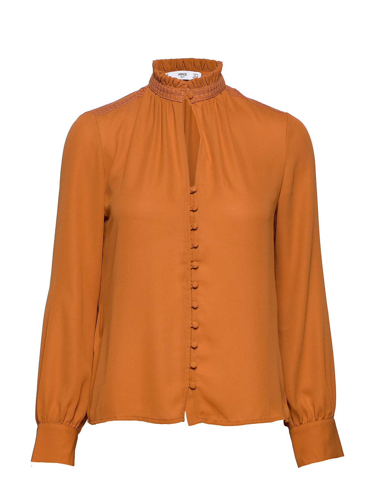 Mango Neck ribbon satin blouse - ORANGE
