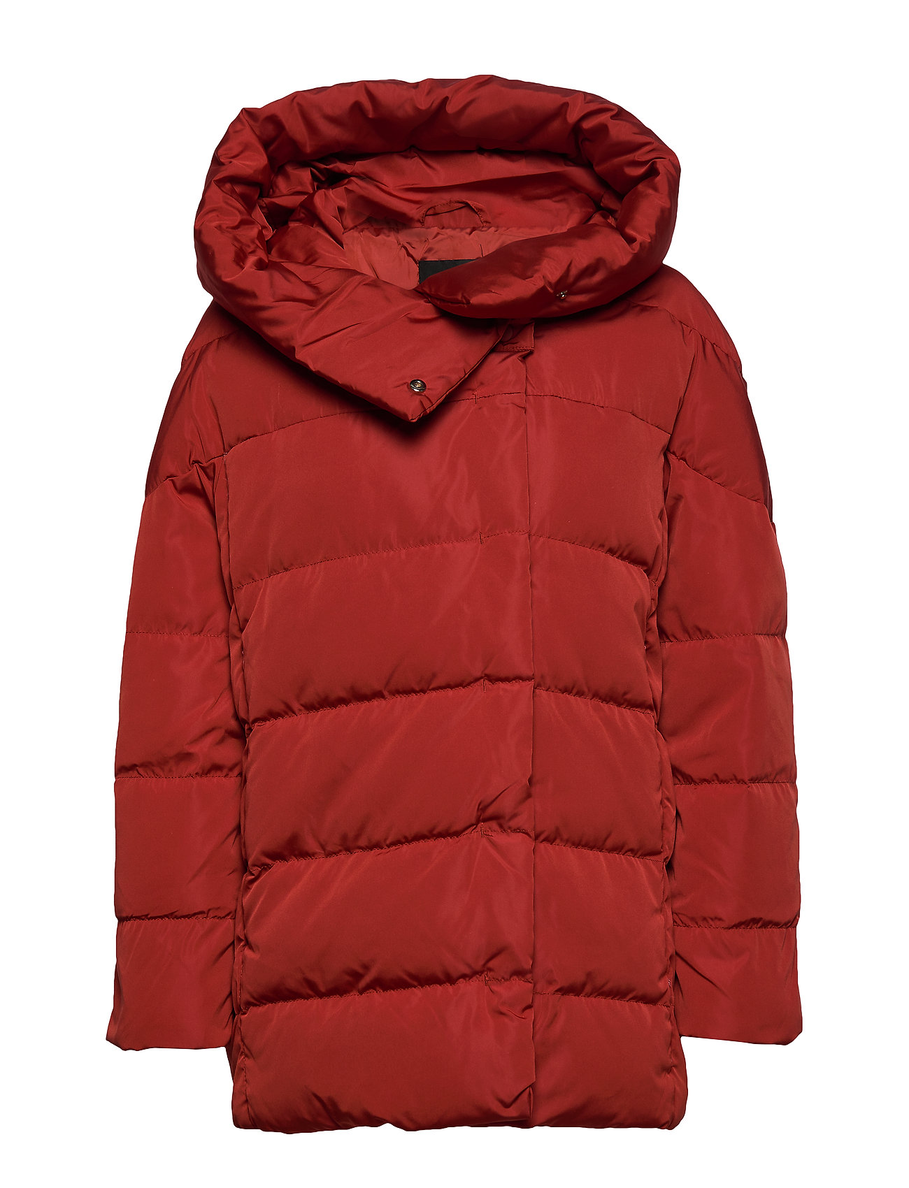 Mango Hood quilted coat - RED