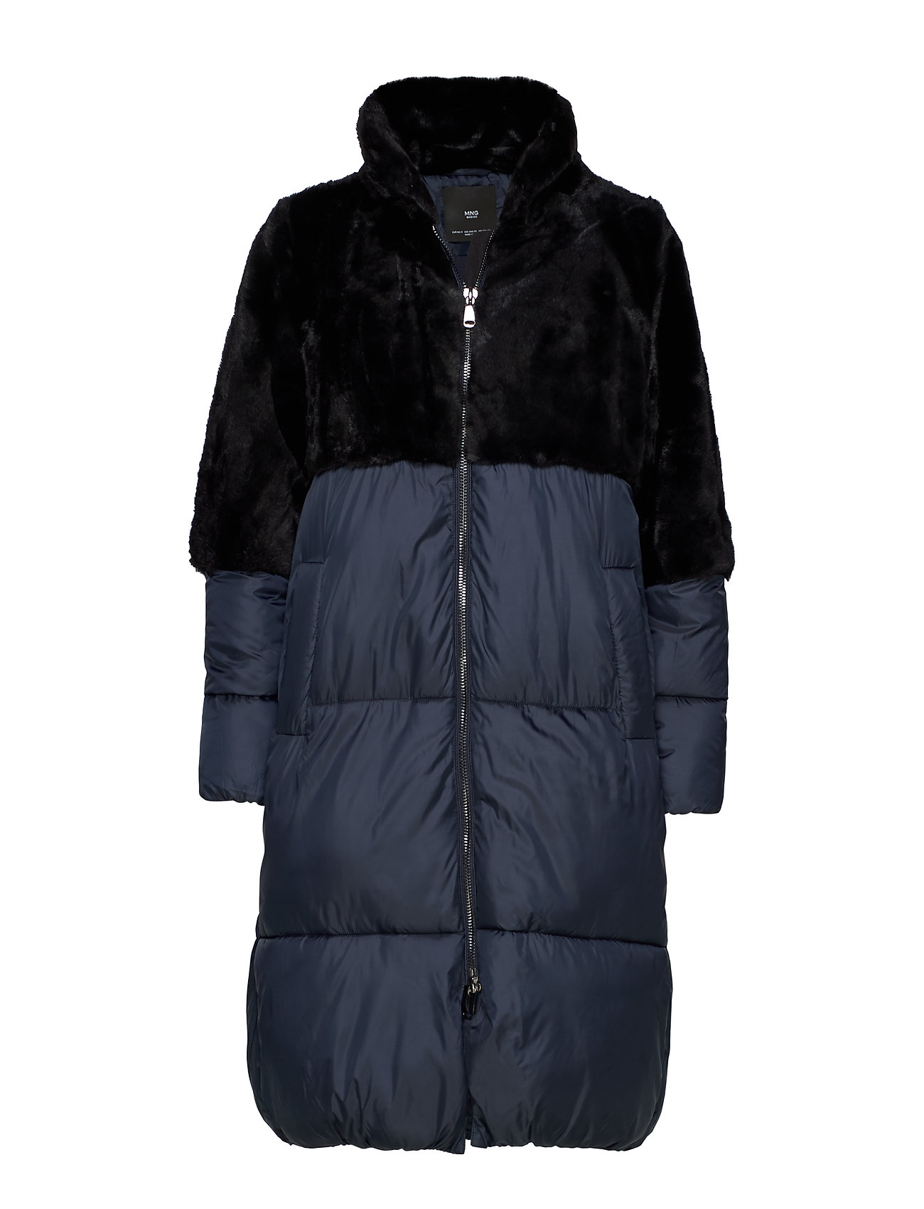 Mango Combined fur coat - BLACK