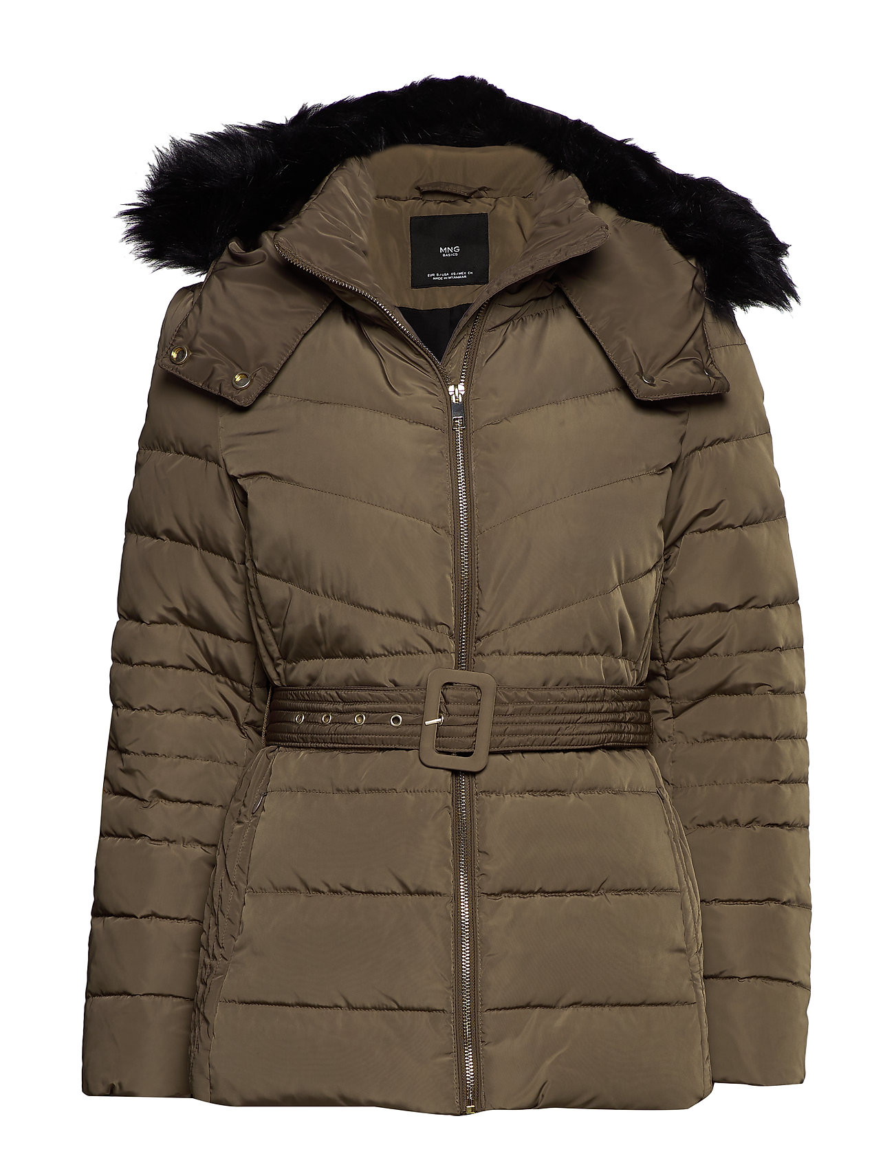 Mango Detachable hood feather down coat - MEDIUM BROWN