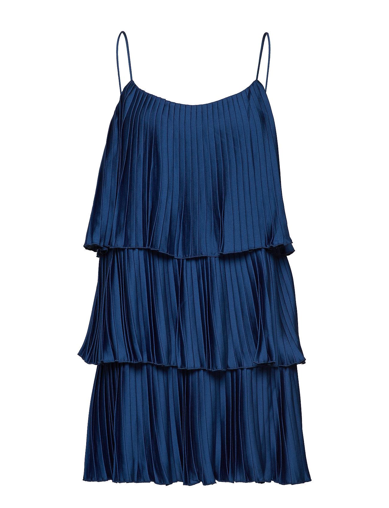 Mango Pleated ruffle dress - MEDIUM BLUE