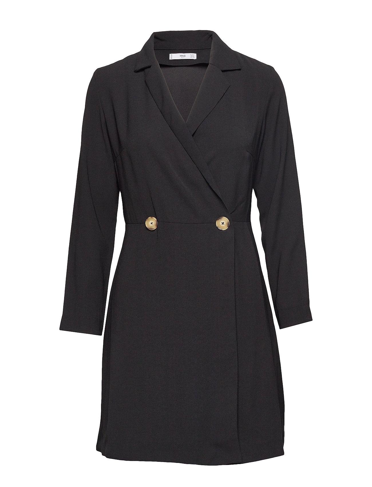 Mango Buttoned wrap dress - BLACK