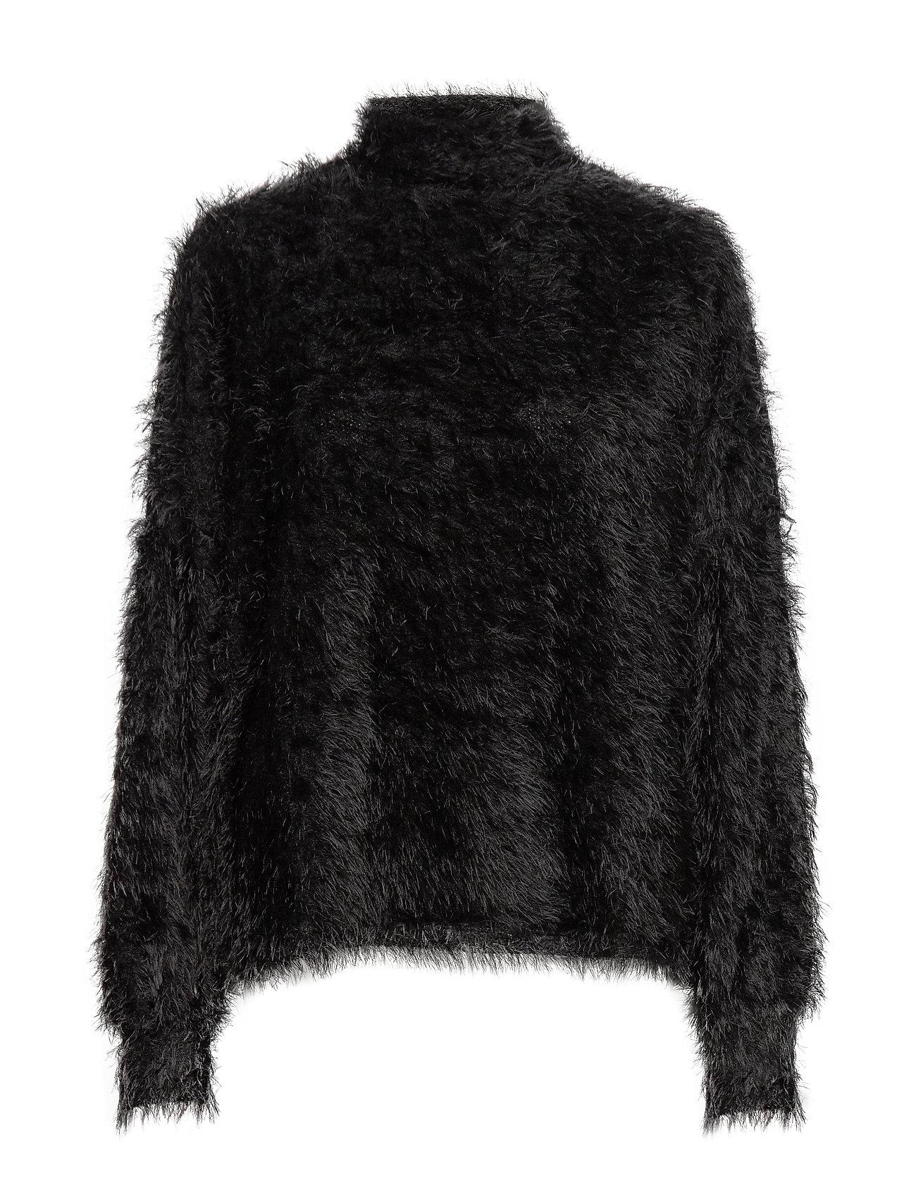 Mango Faux-fur textured sweater - BLACK