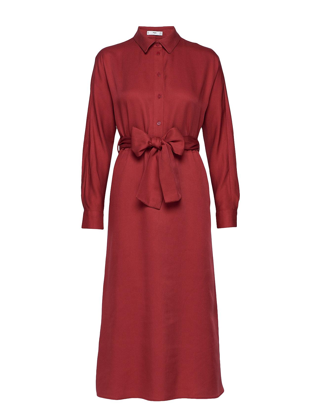 Mango Belt shirt dress - DARK RED