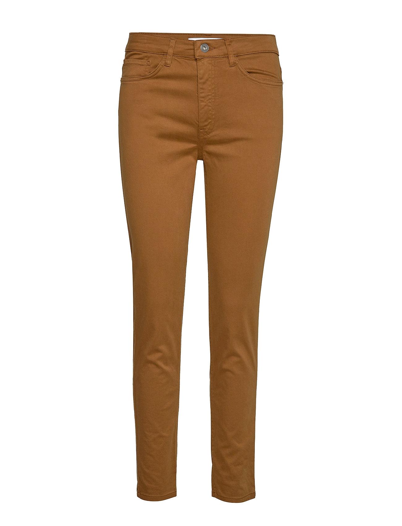 Mango Straight cotton trousers - MEDIUM BROWN