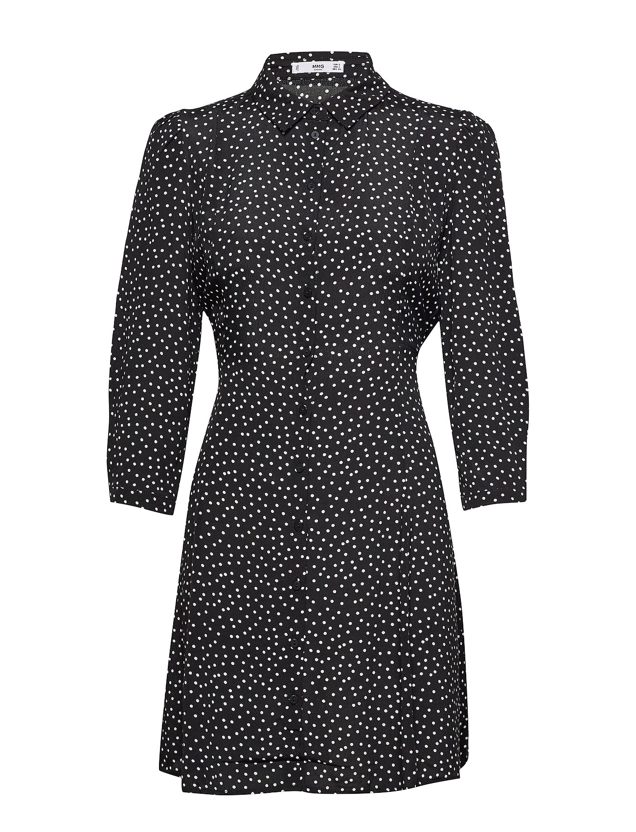 Mango Printed shirt dress - BLACK