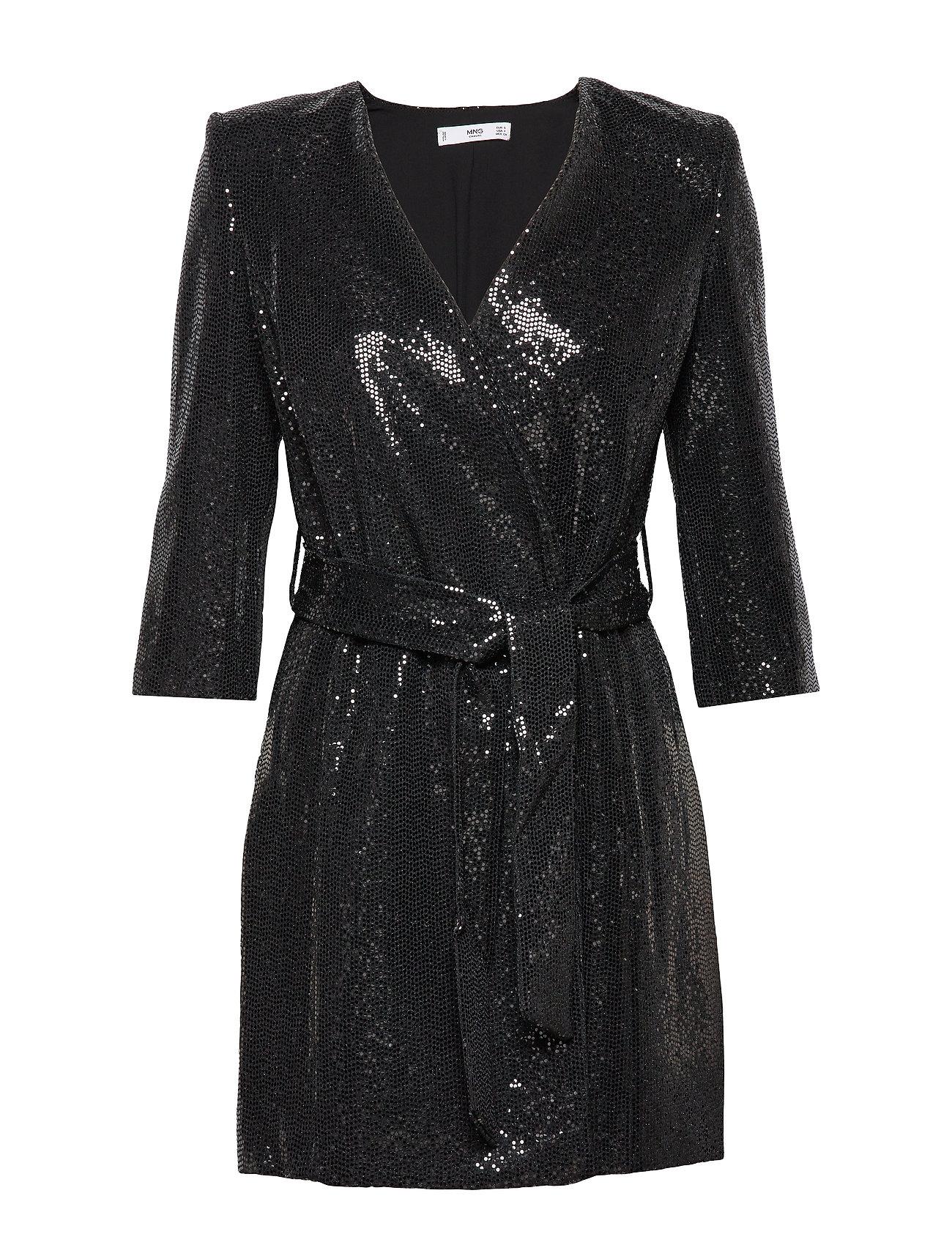 Mango Sequined shift dress - BLACK