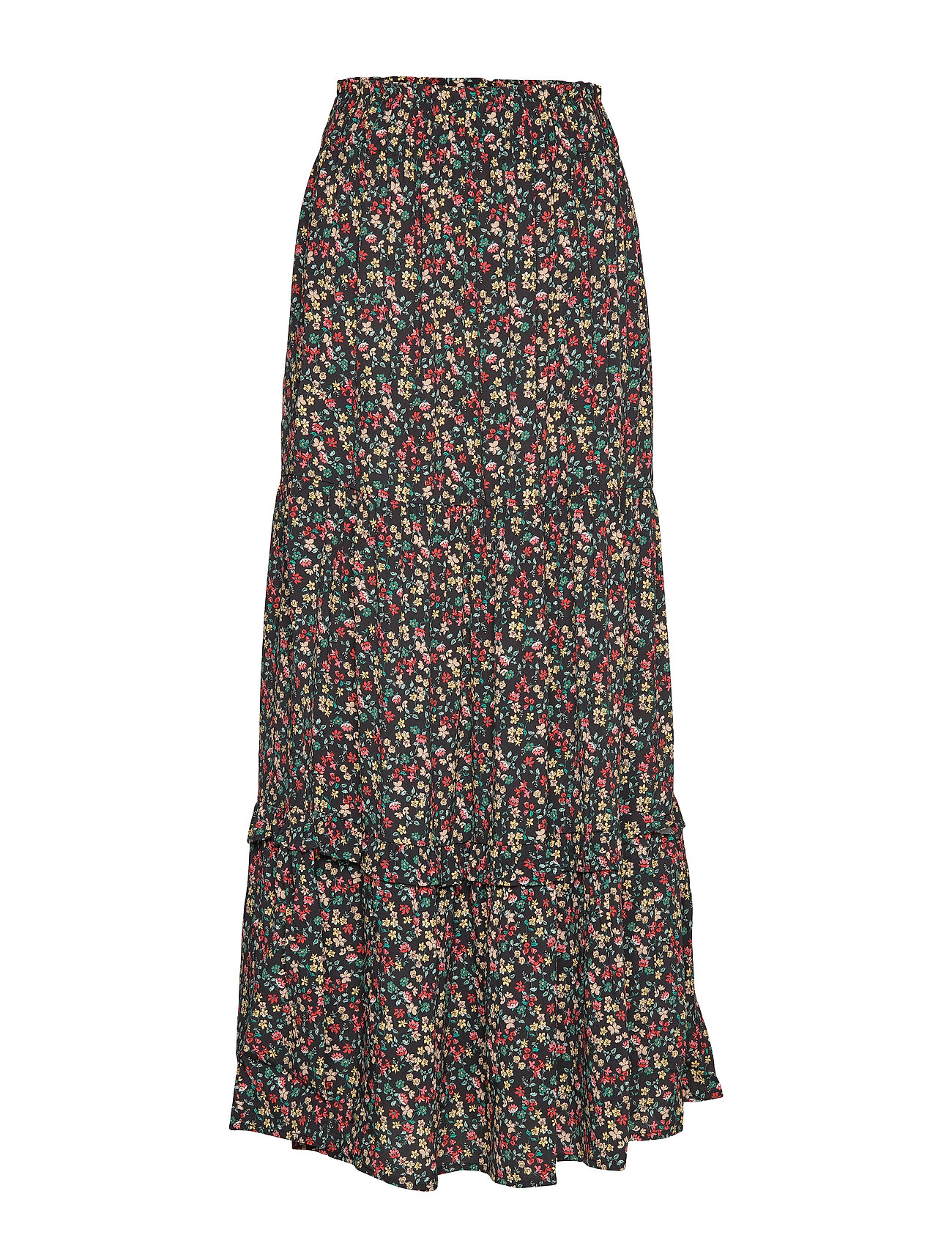 Mango Long floral skirt - BLACK