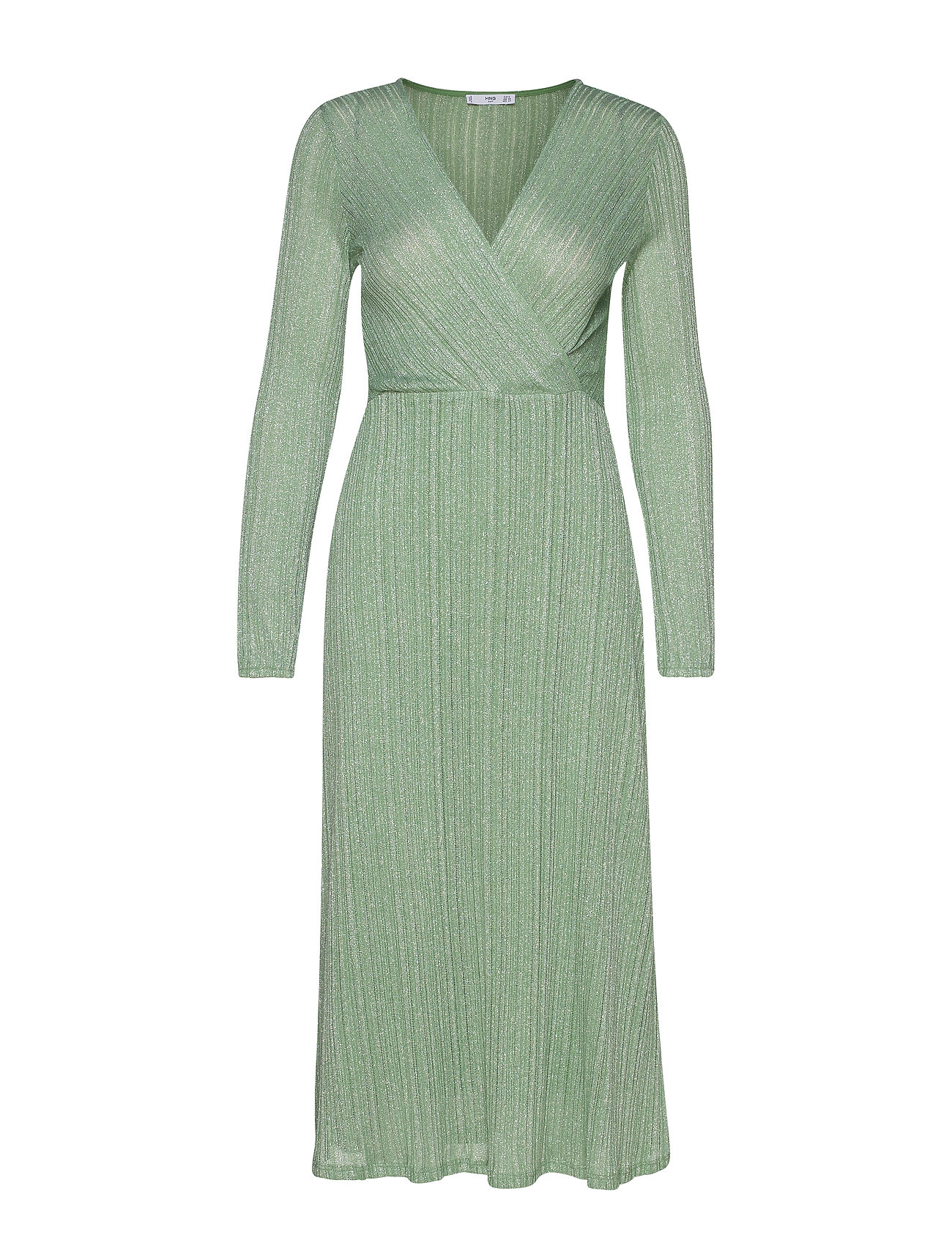 Mango Metallic thread dress - GREEN