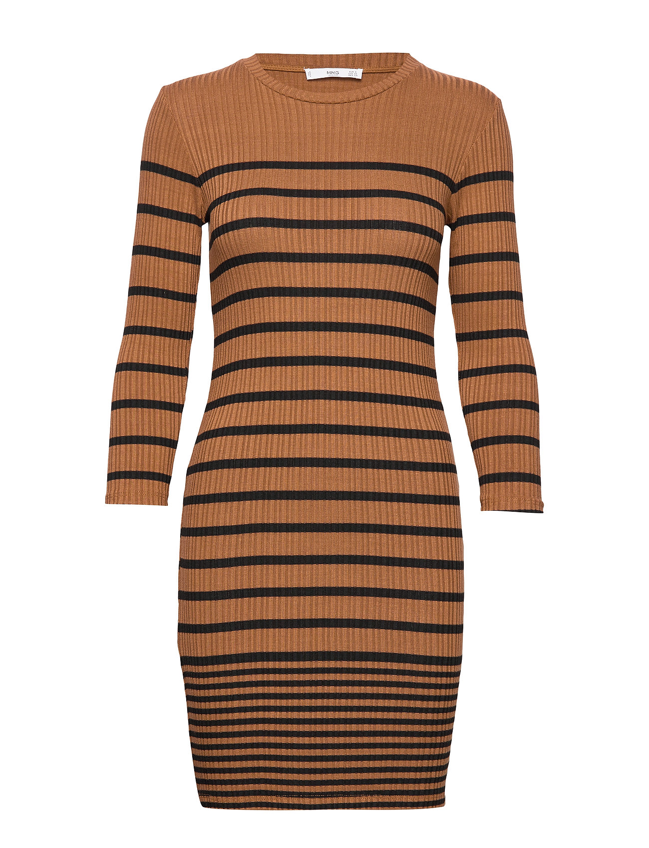 Mango Ribbed jersey dress - BROWN