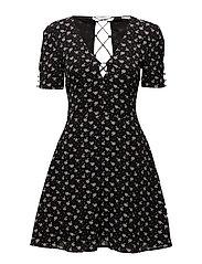 Wrap back dress - BLACK