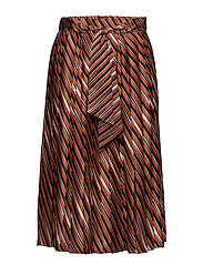 Stripes pleated skirt - ORANGE