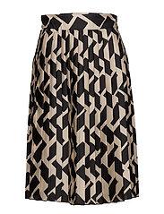 Geometric print pleated skirt - BLACK