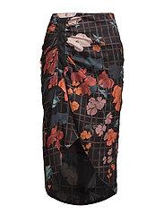 Mixed print skirt - BLACK