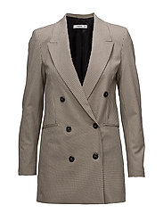 Double-breasted check suit blazer - BROWN