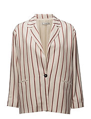 Striped unstructured blazer - LIGHT BEIGE