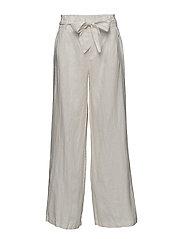 Linen high-waist trousers - NATURAL WHITE
