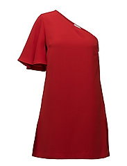 Asymmetrical sleeve dress - RED