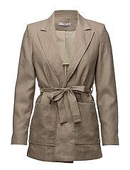Belt linen blazer - BEIGE - KHAKI