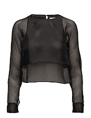 Sheer double-layer blouse - BLACK
