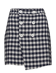 Gingham print skirt - LIGHT BEIGE