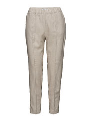 Pocket linen-blend trousers - LT PASTEL BROWN