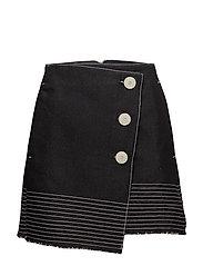 Contrast seam skirt - BLACK