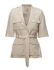 Pocket linen-blend jacket - LT PASTEL BROWN