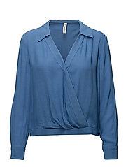 Wrap v-neckline blouse - MEDIUM BLUE