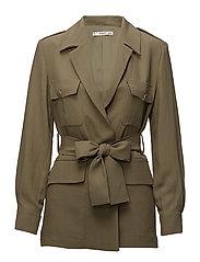 Pocketed soft fabric  jacket - BEIGE - KHAKI